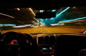 speeding car and blur lights